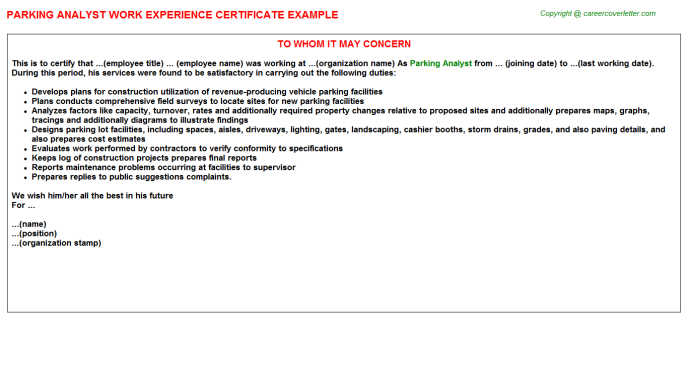 Parking analyst work experience letter (#3207)