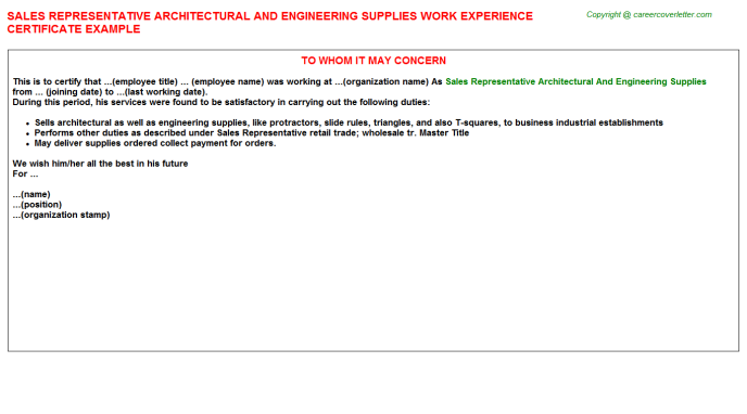 sales representative architectural and engineering supplies experience letter template