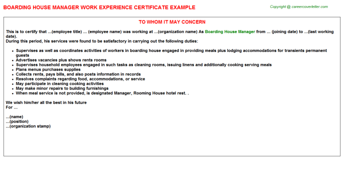 Boarding House Manager Experience Letter Template