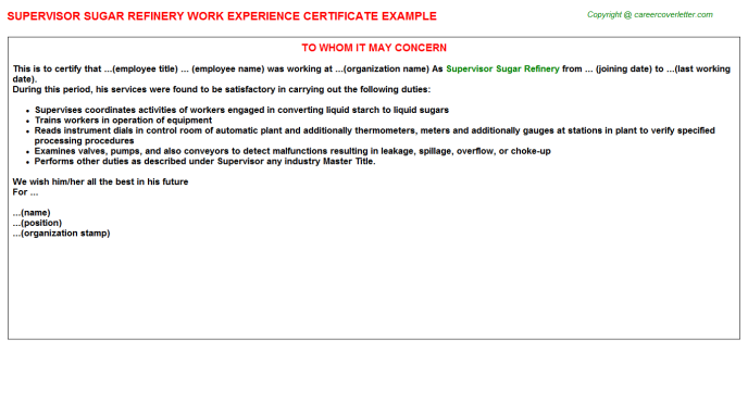 supervisor sugar refinery experience letter template