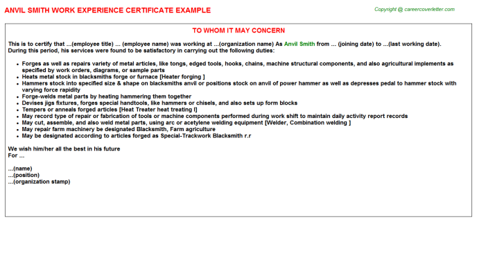 Anvil Smith Work Experience Certificate Template