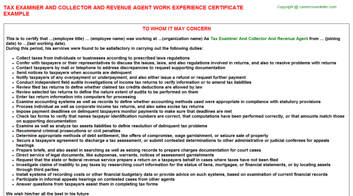 Tax Examiner And Collector And Revenue Agent Experience Letter Template