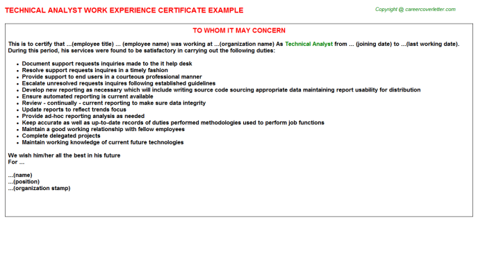 Technical Analyst Experience Letter Template