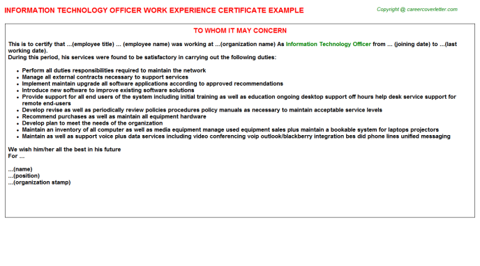 Information Technology Officer Experience Certificate Template