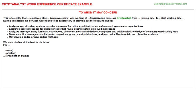 Cryptanalyst Experience Letter Template