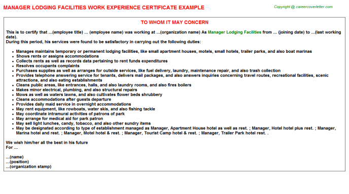 manager lodging facilities experience letter template