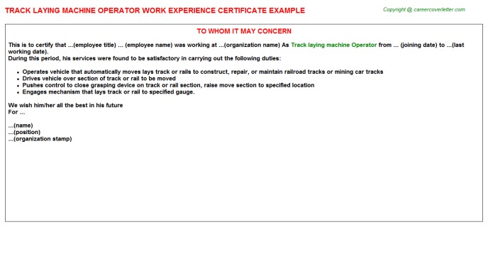 Track laying machine Operator Experience Letter Template