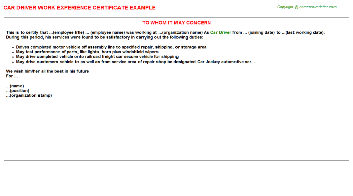 car driver experience certificate sample