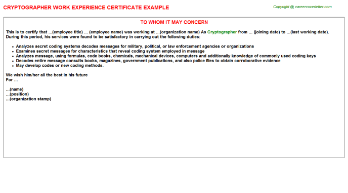 Cryptographer Experience Letter Template