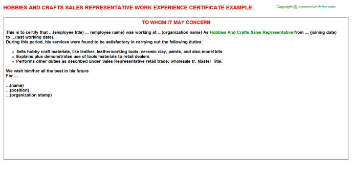 Hobbies And Crafts Sales Representative Work Experience Letter