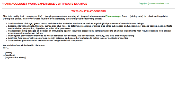 Pharmacologist Experience Letter Template