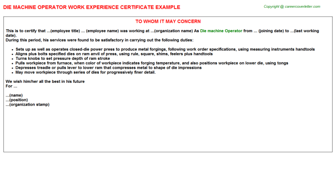 Die Machine Operator Experience Letter Template