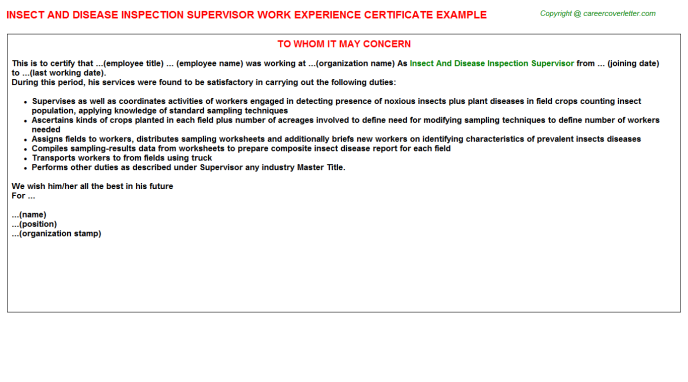 insect and disease inspection supervisor experience letter template
