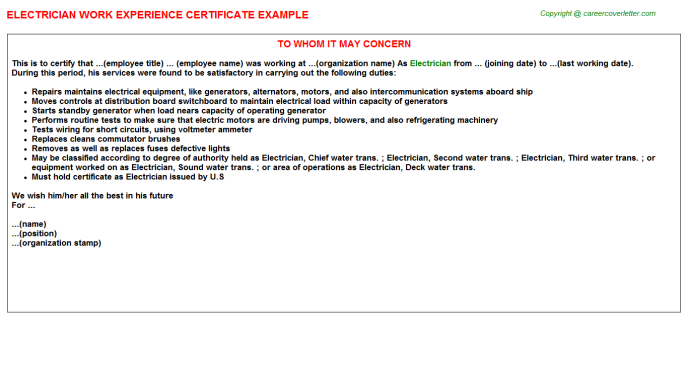 Electrician Experience Letter Template
