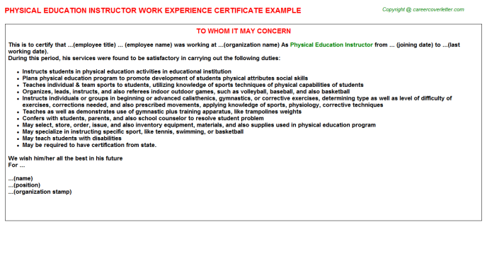Physical education instructor work experience letter (#1217)
