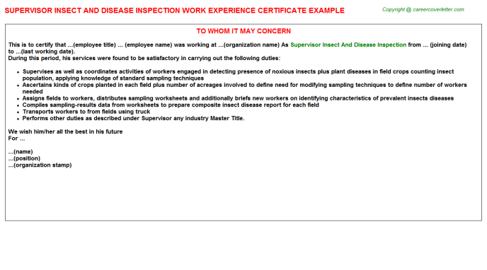 supervisor insect and disease inspection experience letter template