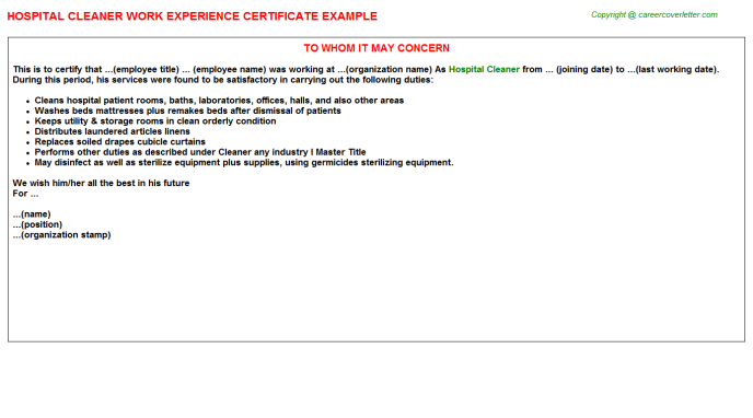 Hospital Cleaner Work Experience Certificate