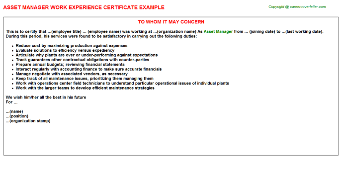 Asset Manager Work Experience Letter Template