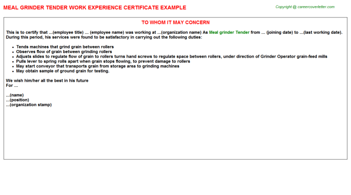 meal grinder tender experience letter template