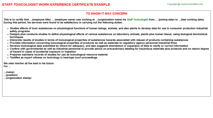 staff toxicologist experience letter template