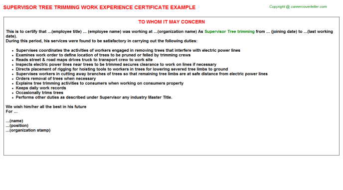 Supervisor Tree trimming Experience Letter Template