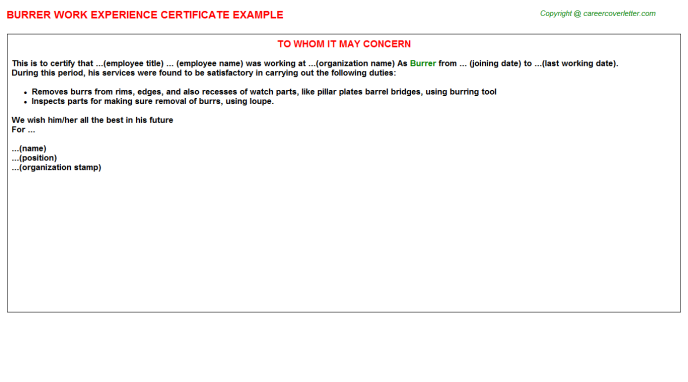 Burrer Experience Letter Template