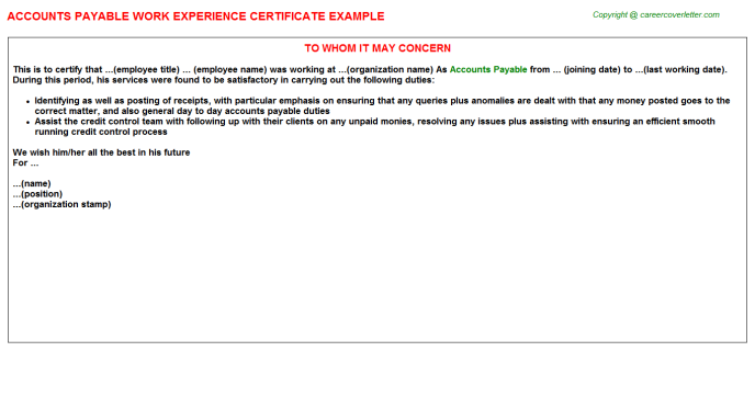 Accounts Payable Work Experience Letter Template