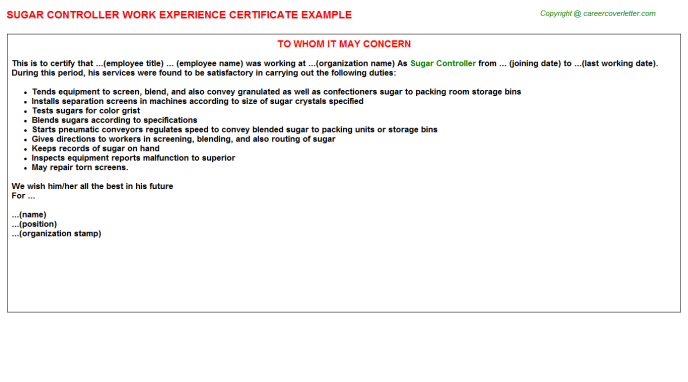 sugar controller experience letter template