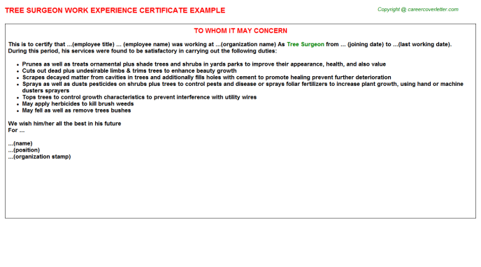 Tree Surgeon Experience Letter Template