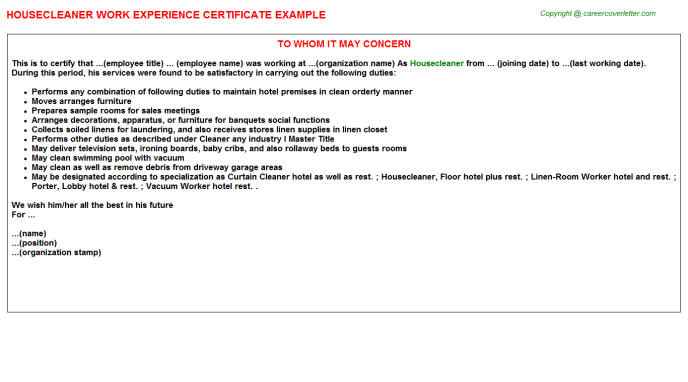 Housecleaner Experience Certificate Template
