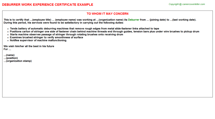 Deburrer Experience Letter Template