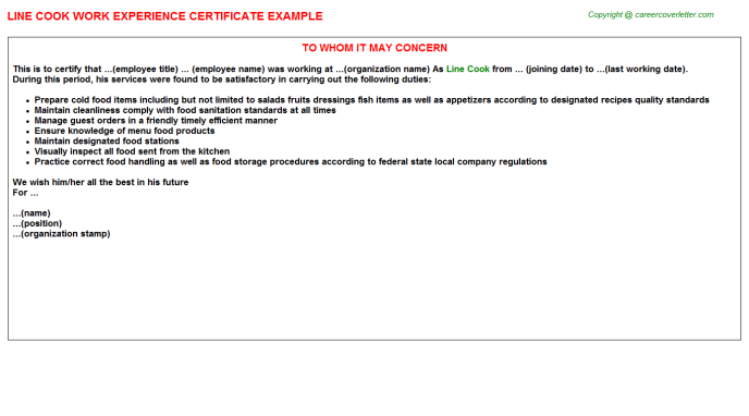 Line Cook Experience Letter Template