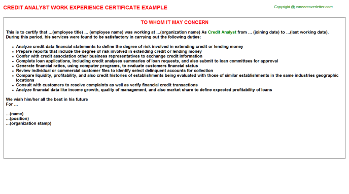 Credit Analyst Experience Letter Template