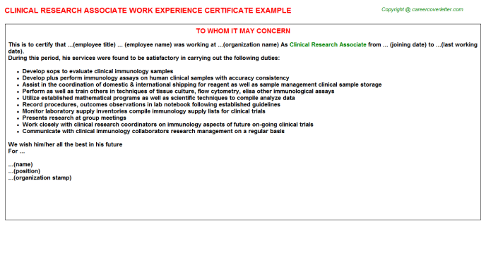 Clinical Research Associate Experience Letter Template