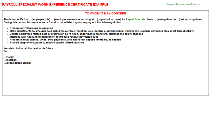 Payroll Specialist Experience Letter Template
