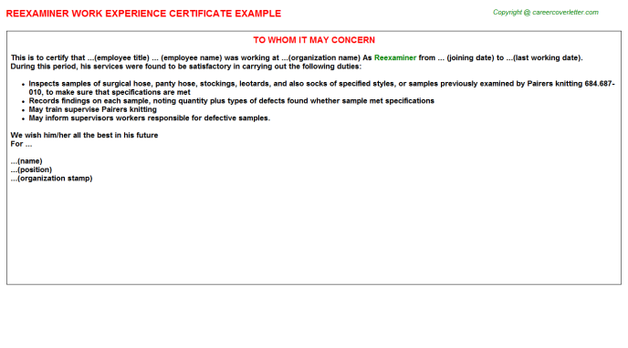 Reexaminer Experience Letter Template