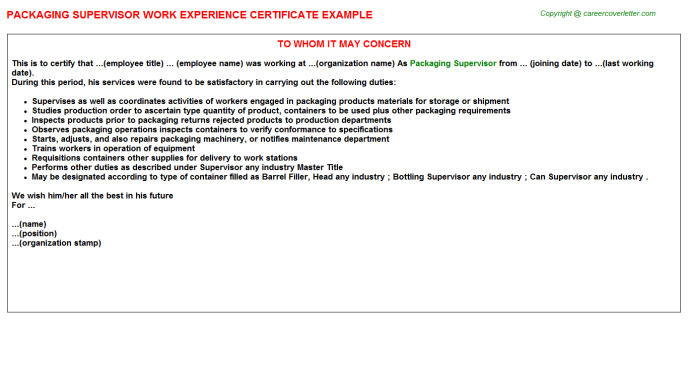 packaging supervisor experience letter template