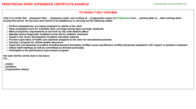Pediatrician Experience Letter Template