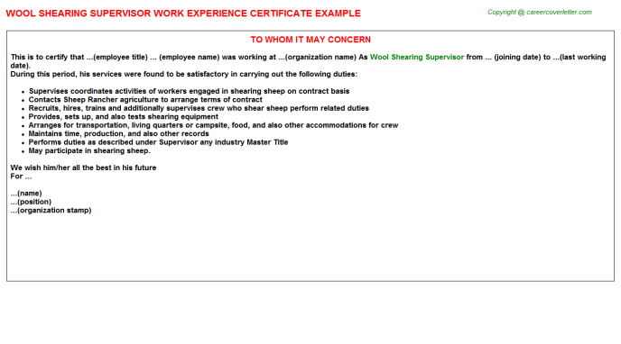 Wool shearing Supervisor Experience Letter Template