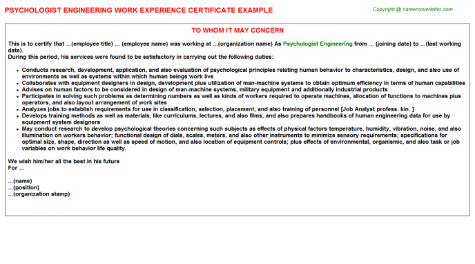 Psychologist Engineering Experience Letter Template