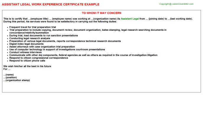Assistant Legal Experience Certificate Template