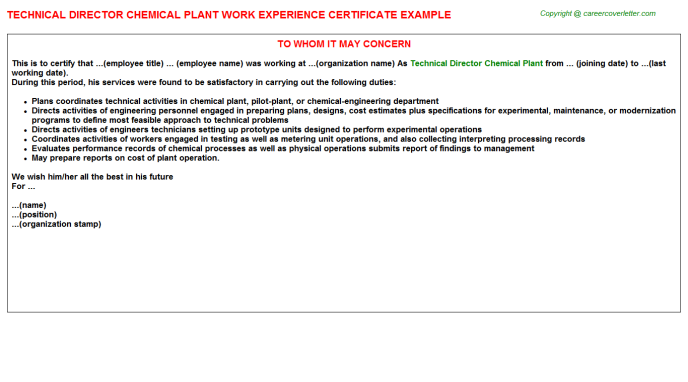 Technical director chemical plant work experience letter (#232)