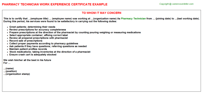 Pharmacy Technician Experience Letter Template