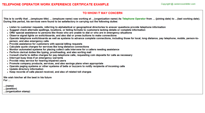 Telephone Operator Experience Letter Template