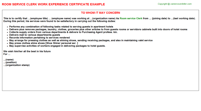 room service clerk experience letter template