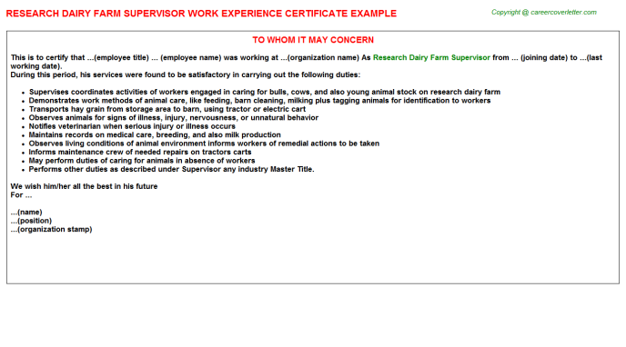 Research Dairy Farm Supervisor Experience Certificate Template