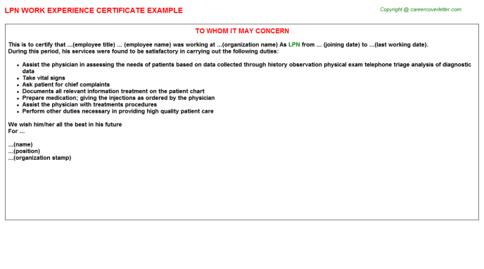 LPN Experience Letter Template
