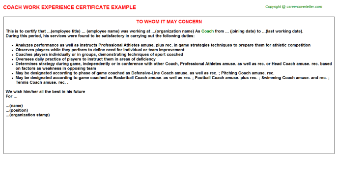 Coach Experience Letter Template