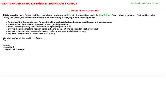 meat grinder experience letter template
