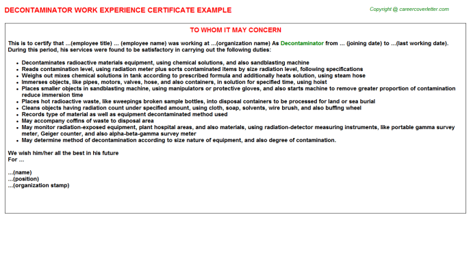 Decontaminator Experience Letter Template